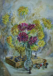 Flowers and chess pieces. 2001. Watercolour on paper. 43 x 61 cm.