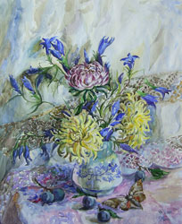 Chrysanthemums. 2001. Watercolour on paper. 36 x 43 cm.