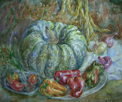 Still life with pumpkin. 2000. Watercolour on paper. 51 x 43 cm.