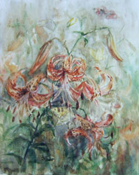 Lilies. 1999. Watercolour on paper. 30 x 37 cm. Private collection.