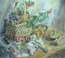 Still life with mushrooms. 1999. Watercolour on paper. 47 x 42 cm.