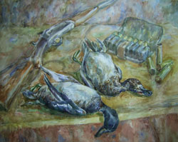 Still life with game. 2000. Watercolour on paper. 53 x 43 cm. Private collection.