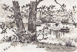 In the park (Tiergarten). 2010. Marker on paper. 21 x 14 cm.