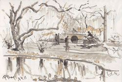 In the park (Tiergarten 1). 2011. Marker on paper. 21 x 14 cm.
