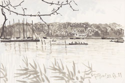 At the lake (Wannsee). 2011. Marker on paper. 21 x 14 cm.