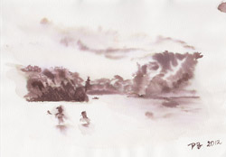 At the lake (Schlachtensee 1). 2012. Watercolour on paper. 21 x 14,8 cm.