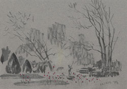 In the park Steglitz. 2013. Watercolour, chalk, pastel  on paper. 29,7 x 20,9 cm.
