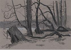 At the lake (Schlachtensee 3). 2015. Ink on paper. 29,7 x 21 cm.