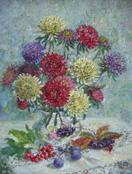 Little asters. 2001. Oil on fibreboard. 33 x 42 cm. Private collection.