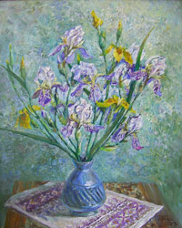 Irises. 2003. Oil on canvas. 45 x 55 cm. Private collection.