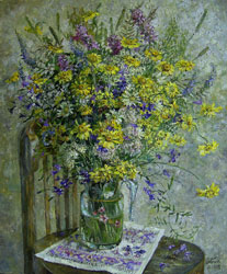 July flowers. 2008. Oil on canvas. 45 x 55 cm. Private collection.