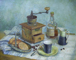 Coffee still life. 2005. Oil on canvas. 50 x 40 cm. Private collection.