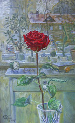 Rose at the window. 2005. Oil on canvas. 34 x 54 cm.