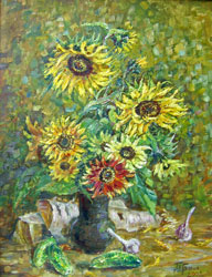 Sunflowers. 2002. Oil on canvas. 49 x 64 cm. Private collection.