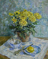Still life with chrysanthemums. 2008. Oil on canvas. 40 x 50 cm. Private collection.