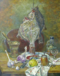 Still life with a flounder. 2003. Oil on canvas. 40 x 50 cm. Private collection.