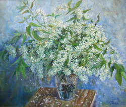 Bird Cherry flowers. 2004. Oil on canvas. 60 x 50 cm. Private collection.
