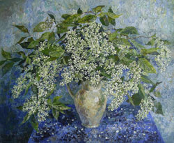 Bird Cherry flowers. 2008. Oil on canvas. 55 x 45 cm. Private collection.