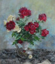 Chrysanthemums. 2015. Pastel on paper. 36 x 41 cm.