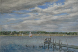 Lake Wannsee. The last summer day. 2016. Pastel on paper. 61 x 41 cm.
