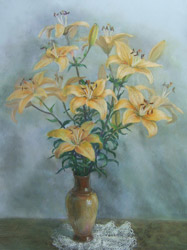 Apricot-lilies. 2005. Pastel on paper. 47 x 62 cm. Private collection.