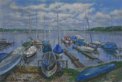 Boats at Lake Schwielowsee. 2014. Pastel on paper. 61 x 41 cm.