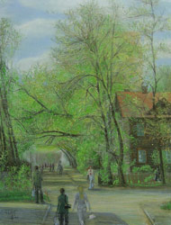 My street. First leaves. 2005. Pastel on paper. 38 x 50 cm.