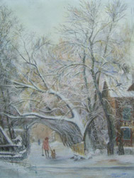 My street. Frosty morning. 2002. Pastel on paper. 38 x 50 cm. Private collection.