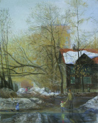 My street. The last snow. 2005. Pastel on paper. 40 x 50 cm. Not for sale