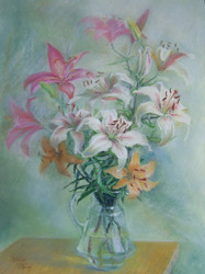 Lilies. 2004. Pastel on paper. 48 x 63 cm. Private collection.