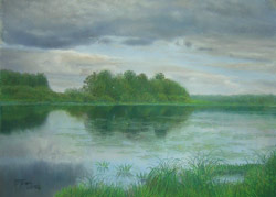 Lake. Before a thunderstorm. 2006. Pastel on paper. 48 x 35 cm.