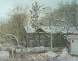 My street. A wintry day. 2006. Pastel on paper. 57 x 45 cm. Not for sale