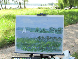 Plein air painting in the meadow.